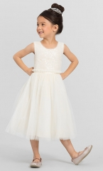 Ivory Sequin Tea Length Flower Girl Dress