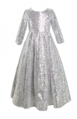 Silver Sequin Full Length Flower Girl Dress