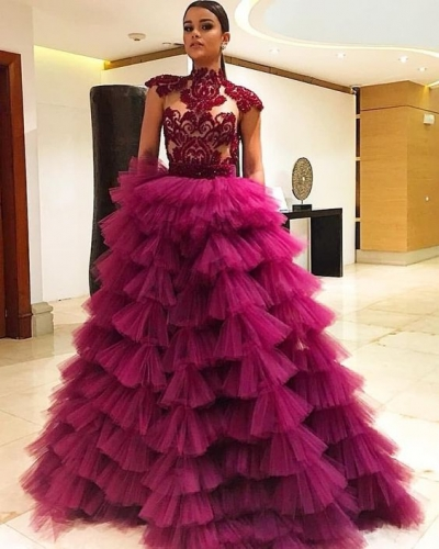 Rose Pink Long Train Sexy Prom Dress special occasion skirt