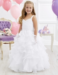 Ivory Full Length Organza Flower Girl Dress Party Dress Pageant Dress Communion Dress