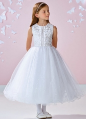 White Ankle Length Lace Tulle Flower Girl Dress Party Dress Pageant Dress Communion Dress