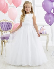 Ivory Full Length Tulle Pearls Flower Girl Dress Party Dress Pageant Dress Communion Dress
