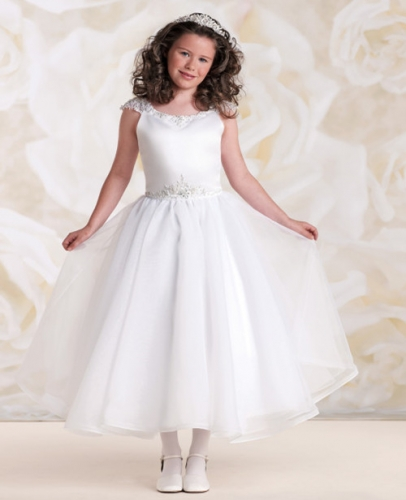 White Ankle Length Lace Satin Flower Girl Dress Party Dress Pageant Dress Communion Dress