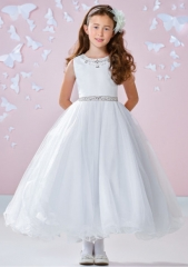 White Ankle Length Satin Tulle Flower Girl Dress Party Dress Pageant Dress Communion Dress