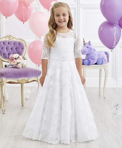 Ivory Full Length Lace Flower Girl Dress Party Dress Pageant Dress Communion Dress