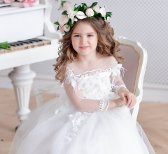 White Ankle Length Lace Tulle Lace Up Flower Girl Dress Party Dress Pageant Dress Communion Dress