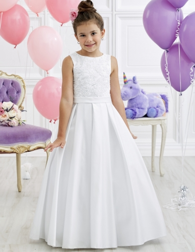 White Full Length Lace Satin Flower Girl Dress Party Dress Pageant Dress Communion Dress