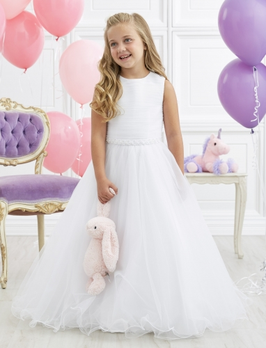 Ivory Full Length Tulle Beaded Belt Flower Girl Dress Party Dress Pageant Dress Communion Dress