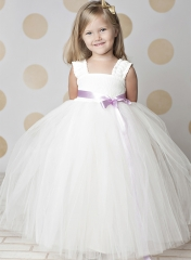 Ivory Full Length Lace Tulle Flower Girl Dress Party Dress Pageant Dress Toddler Dress