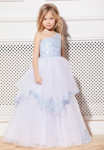 White Full Length Lace Tulle Flower Girl Dress Party Dress Pageant Dress