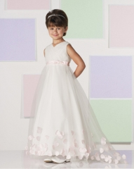 Ivory Full Length Lace Tulle Flower Girl Dress Party Dress Pageant Dress Communion Dress