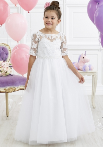 White Full Length Lace Tulle Flower Girl Dress Party Dress Pageant Dress Communion Dress