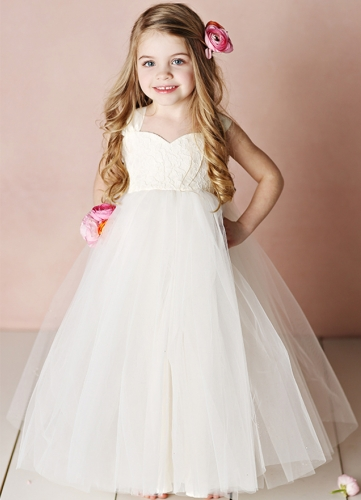 Ivory Lace Tulle Full Length Flower Girl Dress Party Dress Pageant Dress Toddler Dress