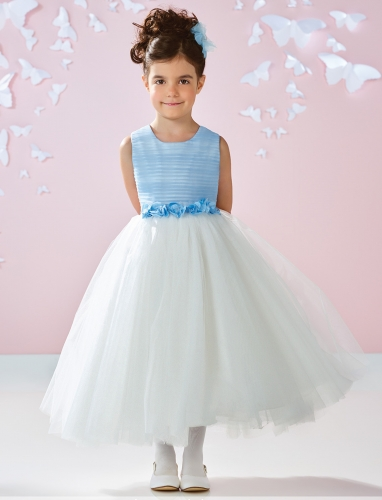Blue Ivory Tulle Knee Length Flower Girl Dress Party Dress Pageant Dress Toddler Dress