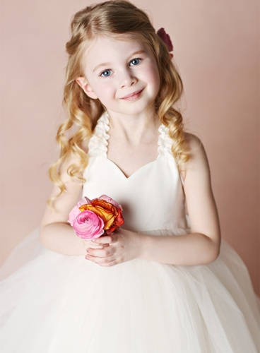 Ivory Cotton Tulle Tea Length Flower Girl Dress Party Dress Pageant Dress Toddler Dress