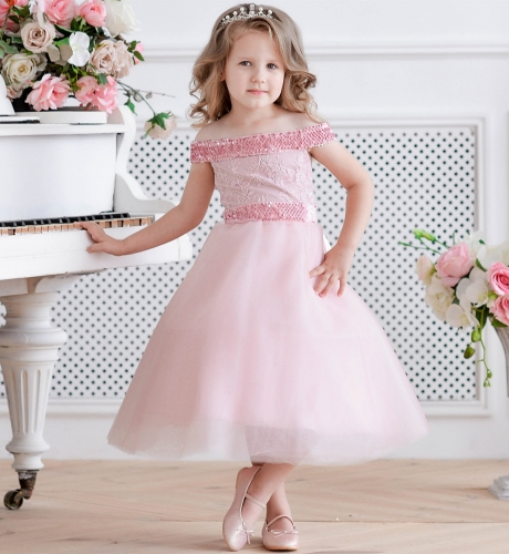Pink Lace Tulle Lace Up Tea Length Flower Girl Dress Party Dress Pageant Dress Toddler Dress