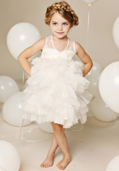 Ivory Lace Tulle Cupcake Knee Length Flower Girl Dress Party Dress Pageant Dress Toddler Dress