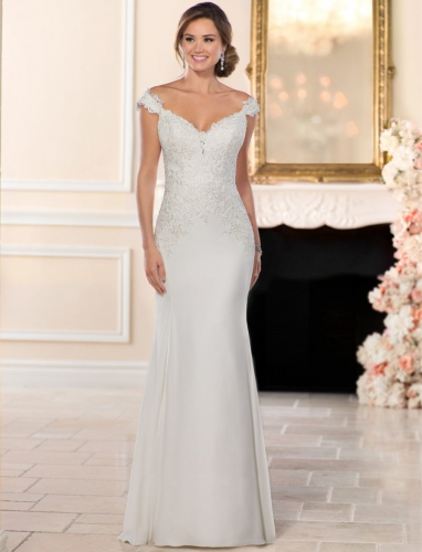 Ivory  Lace Chiffon Bridal Gown Mermaid Wedding Party Dress
