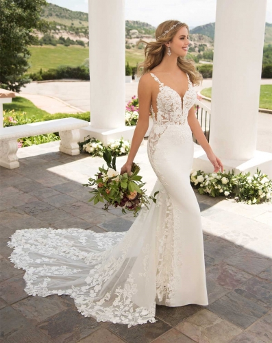 Vback Ivory  Lace Tulle Mermaid Bridal Gown Wedding Dress