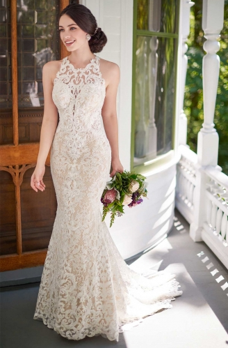 Ivory  Lace Tulle Mermaid Bridal Gown Wedding Dress