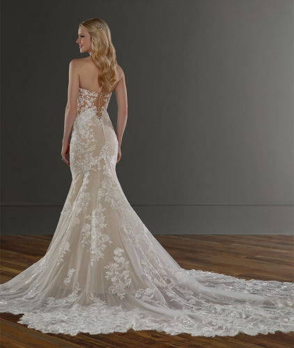 Sweetheart Ivory Lace Tulle Mermaid Bridal Gown Wedding Dress