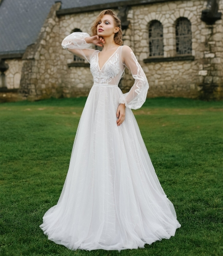 Ivory Lace Tulle Long Sleeve  Bridal Gown Wedding Dress