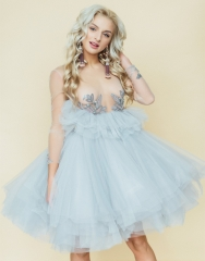 Light Blue Knee Length Lace Tulle Bridal Gown Prom Dress