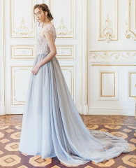 Grey Blue Lace Chiffon Bridal Gown Wedding Dress