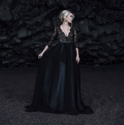 Black Lace Tulle Wedding Dress Bridal Gown Gothic Wedding Dress
