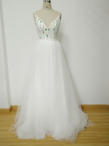 Ivory Lace eads Tulle Bridal Gown Wedding Dress