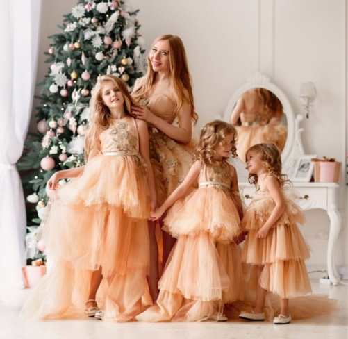 Champagne Gold  Prom Dress Mother and Kids Dress