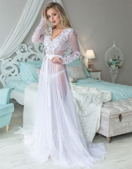 Long Sleeve Ivory Tulle Bridal Robe Bridal Sleepingwear
