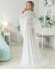Long Sleeve Ivory Chiffon Bridal Robe Bridal Sleepingwear