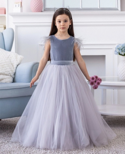Grey Velvet Tulle Full Length Flower Girl Dress Party Dress