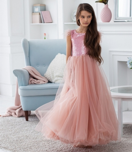 Pink Sequin Tulle Full Length Flower Girl Dress Party Dress