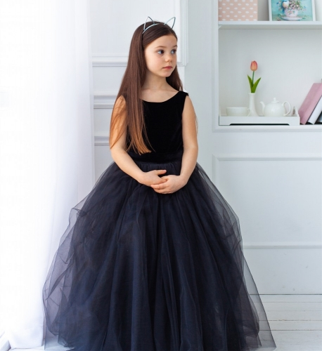 Navy Blue Velvet Tulle Full  Length Flower Girl Dress Party Dress