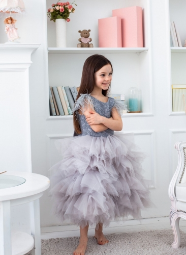 Grey Beaded Tulle Tea Length Flower Girl Dress Party Dress