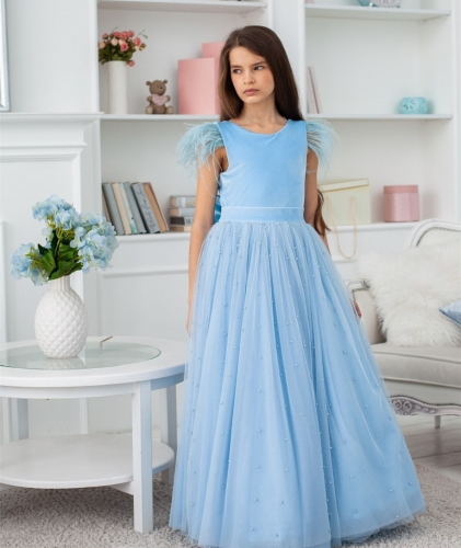 Blue Velvet Tulle Full Length Flower Girl Dress Party Dress