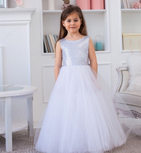 Ivory Sequin Tulle Full Length Flower Girl Dress Party Dress