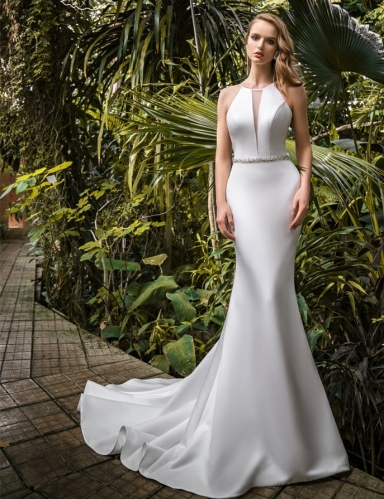 Ivory Mermaid Satin Bridal Gown Cathedral Wedding Dress