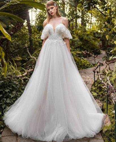 Ivory Lace Tulle Off Shoulder Bridal Gown Cathedral Wedding Dress
