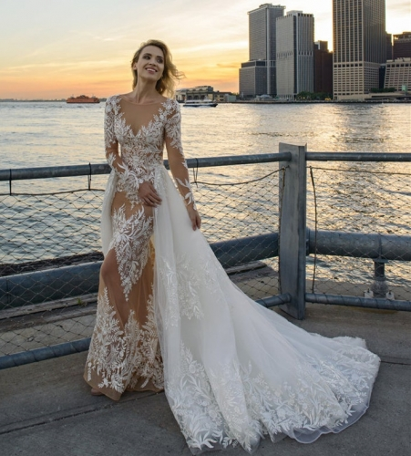 Mermaid Lace Long Sleeve Bridal Gown Cathedral Wedding Dress