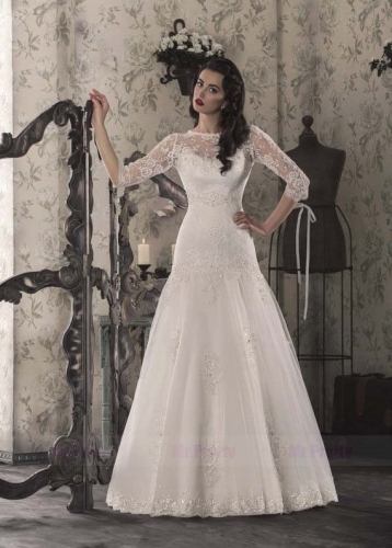 Vintage Long Sleeve Mermaid Lace Tulle Bridal Gown Cathedral Wedding Dress