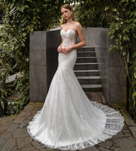 Mermaid Lace Tulle Bridal Gown Cathedral Wedding Dress