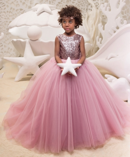Rose Pink Sequin Tulle Lace Tulle Flower Girl Dress Party Dress