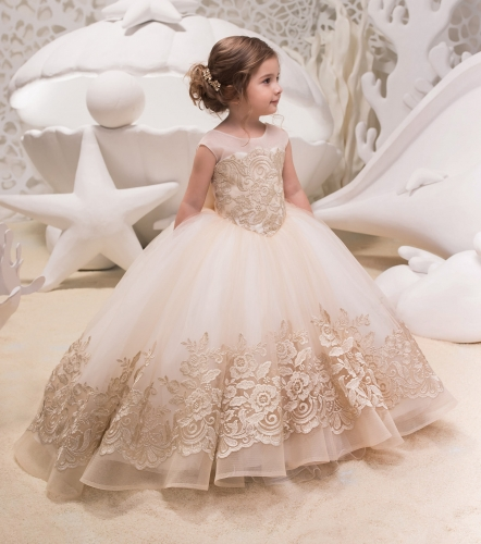 Light Champagne Lace Tulle Flower Girl Dress Party Dress