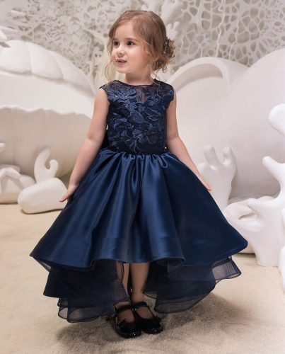 Navy Blue Satin Tulle Lace Tulle Flower Girl Dress Party Dress