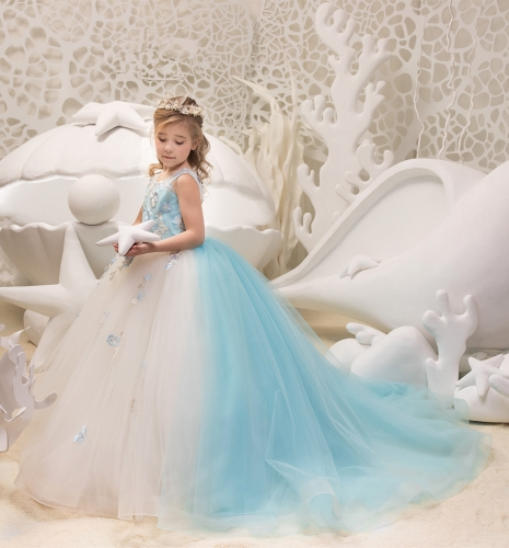 2 Pieces Ivory Blue Lace Tulle Flower Girl Dress Party Dress