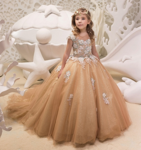 Gold Lace Tulle Flower Girl Dress Party Dress