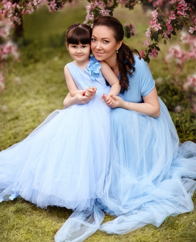 Light Blue Short Train Mother And Kids Parenting Dress Prom Dress